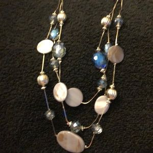 Ashley Cooper Jewelry - Ashley Cooper 3 Row Necklace Silver/Blue